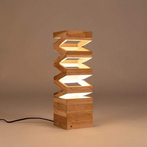 Design table lamp, recycled oak wood 'Akoredeoia'