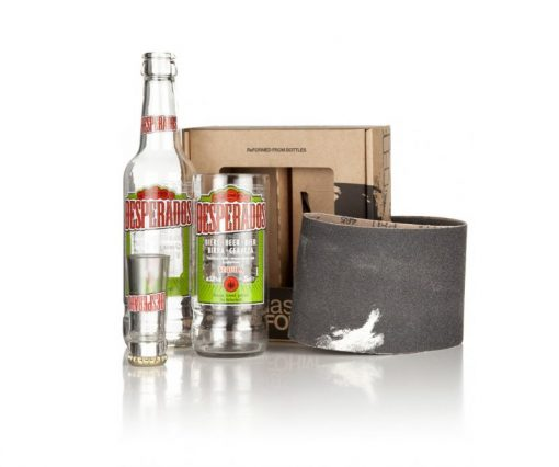 Recycled Desperados beer bottle glass and shot glass